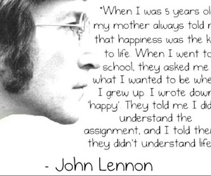 john lennon, quote, and happiness image