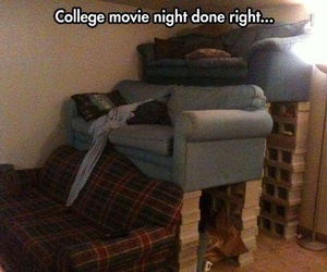 college, movie, and night image