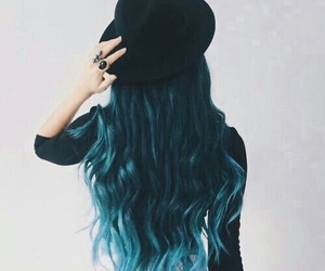 hair, hat, and blue image