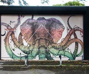 pink, rainbow, and street art image