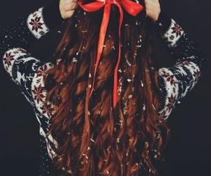 hair, snow, and christmas image