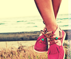 beach, shoes, and girl image