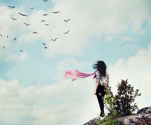 girl, sky, and bird image