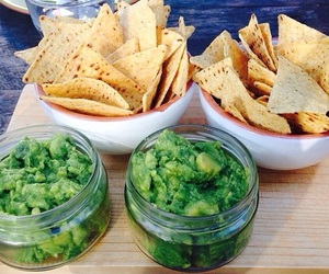 food, nachos, and guacamole image