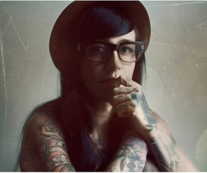 glasses, tattoo, and girl image