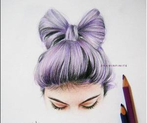 art, purple, and hair image