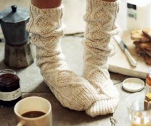 socks, winter, and coffee image