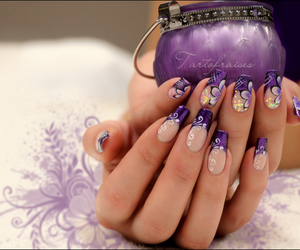 nails, beautiful, and flowers image