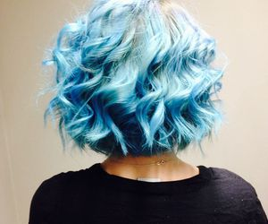 blue hair, colorful, and curly hair image