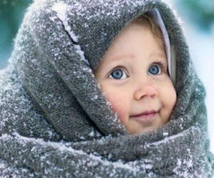 baby, blue, and snow image