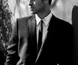 liam hemsworth, black and white, and Hot image