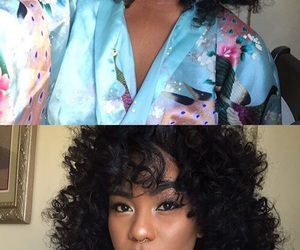 curly hair, hairstyle, and makeup image
