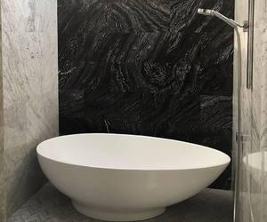 bathroom, bathtub, and white image