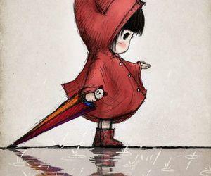 rain, red, and art image