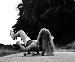 girl, skateboard, and black and white image