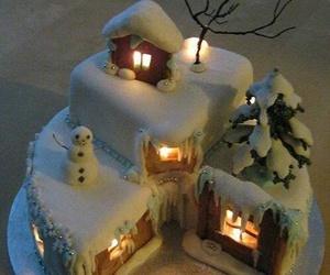 cake, christmas, and snow image