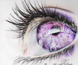 eye, purple, and drawing image