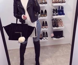 fashion, leather jacket, and luxury image