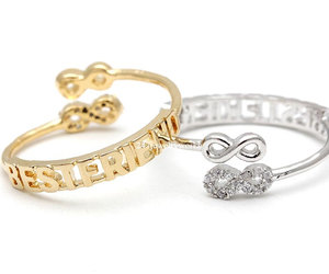 infinity ring, adjustable ring, and best friends ring image