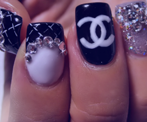 nails, chanel, and glitter image