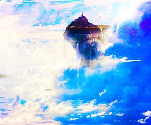 anime scenery, blue, and clouds image