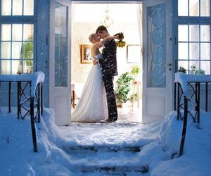 couple, wedding, and winter image