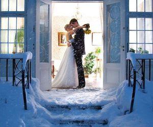 couple, wedding, and winter image