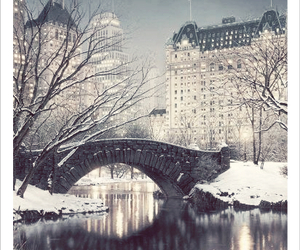bridge, city, and snow image