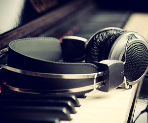 music, piano, and headphones image