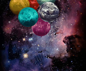 balloons, galaxy, and planets image