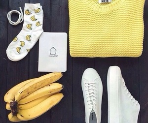 yellow, banana, and fashion image