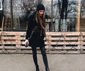 fashion, winter, and black image