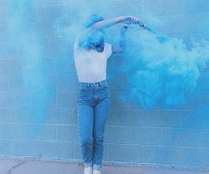 blue, smoke, and girl image