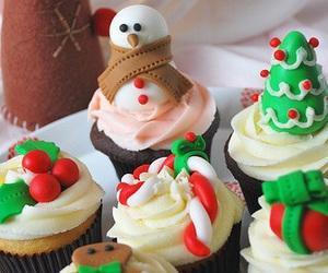 christmas, cupcake, and snowman image