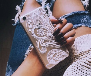 nails, iphone, and jeans image