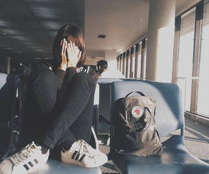 adidas, airport, and alone image