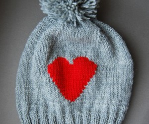 heart, Valentine Day, and knitted beanie image