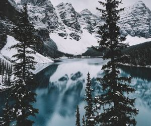 mountains, snow, and tree image