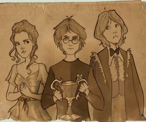 harry potter, ron weasley, and hermione image