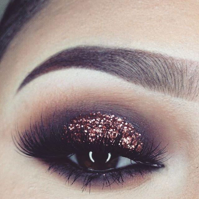 Makeup Glitter Glam Copper Lashes