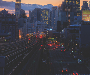 city, light, and retro image