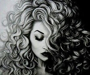 art, drawing, and hair image
