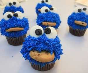 cupcake, blue, and cookie monster image