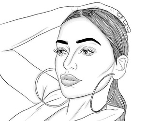 drawing, girl, and outline image