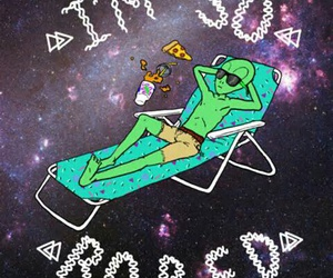 alien, bored, and pizza image