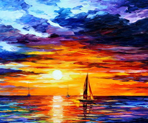 sunset, boat, and art image