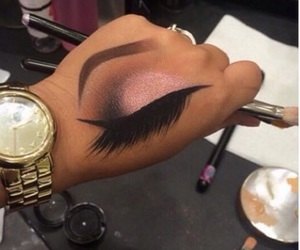 eye makeup, makeup, and watch image