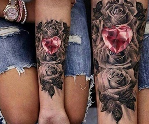 art, heart, and rose image