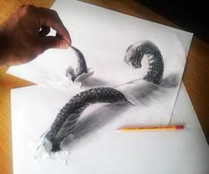 drawing, 3d, and snake image