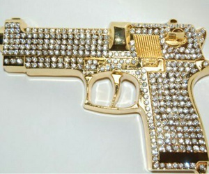 gun, diamond, and gold image